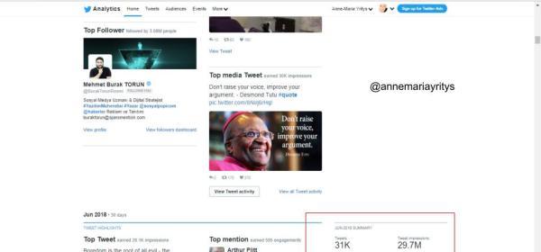 Twitter analytics Anne-Maria Yritys